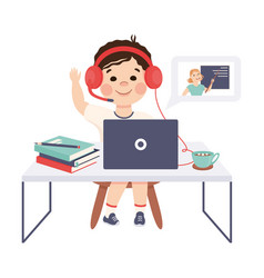 Boy in headphones studying online using computer vector
