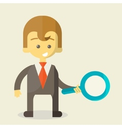Businessman with a magnifying glass looking for vector