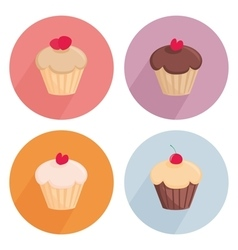 Cake flat icon set isolated on white background vector image