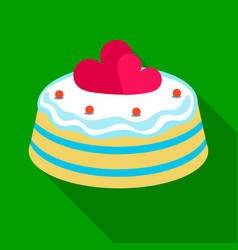 Cake with hearts icon in flate style isolated on vector
