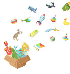cartoon children toys box vector image