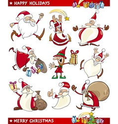 Cartoon Set of Christmas Themes vector image