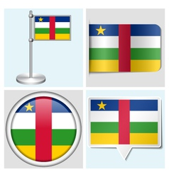 Central African Republic flag - sticker button vector