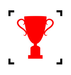 champions cup sign red icon inside black vector image