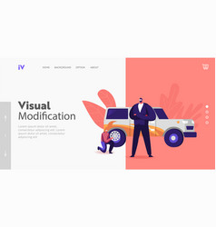 change wheels and painting auto body landing page vector image