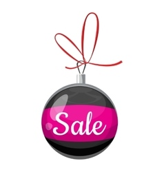 Christmas ball with sale icon cartoon style vector
