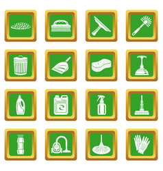 cleaning icons set green square vector image
