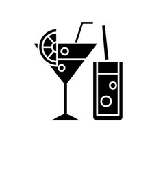 cocktail menu black icon sign on isolated vector image