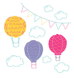 collection with air balloons vector image