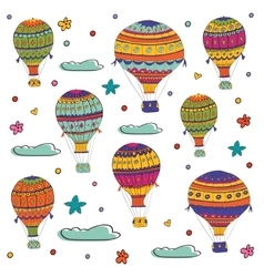 Colorful of flying hot air balloons vector