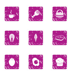 Convenience food icons set grunge style vector