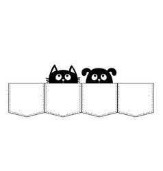 Cute cartoon animals cat dog in the pocket kitten vector