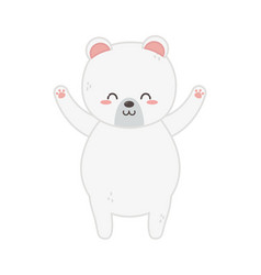 cute polar bear hands up vector image