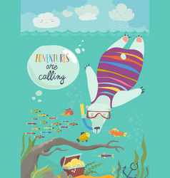 cute polar bear snorkeling and looking at the fish vector image