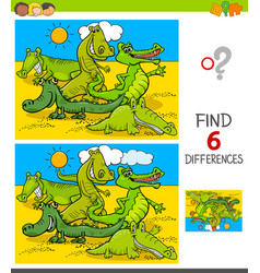 Differences game with crocodiles animal characters vector