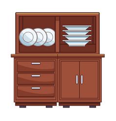 Dishes in kitchen shelf vector