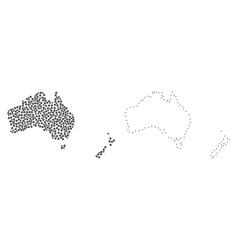 dotted contour map of australia and new zealand vector image