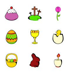 Easter holiday icons set cartoon style vector