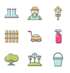 Ennoble icons set cartoon style vector