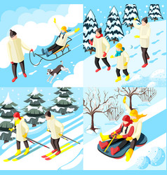 family winter holidays isometric concept vector image