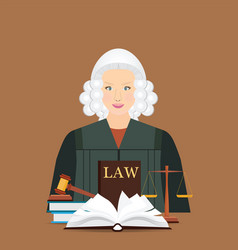 Female judge in wig with law and justice set icon vector