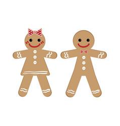 gingerbread man and woman on christmas theme vector image