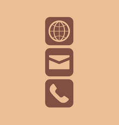 Globe email and phone icon vector