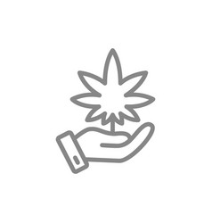 hand with cannabis leaf medical care growing vector image
