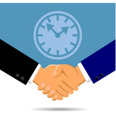 Handshake and a clock in flat style vector