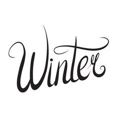 handwritten lettering winter black and white vector image