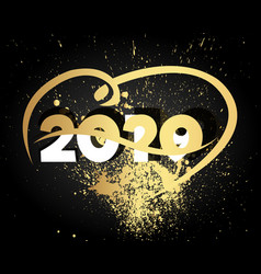 happy new year 2020 with heart modern 2020 text vector image