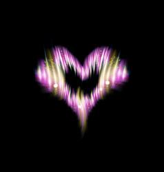 heart icon of flash pink energy strips glow vector image