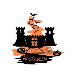 holiday label for halloween with castle vector image