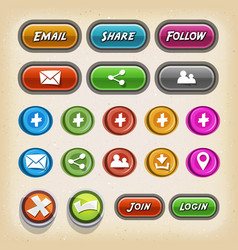 Icons and buttons for game ui vector