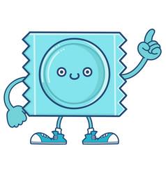 Kawaii blue smiling condom wrapper icon cartoon vector