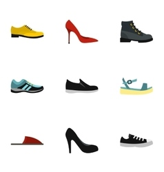 Kind of shoes icons set flat style vector image
