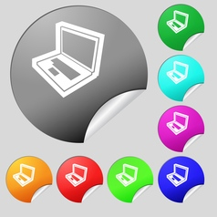 Laptop icon sign Set of eight multi colored round vector image vector image