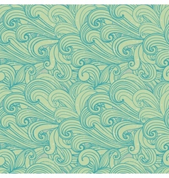 Light green hand-drawn pattern waves background vector image