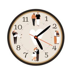 Love clock icon vector