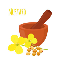Mustard mortar pestlecartoon flat style vector