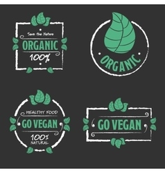 Organic food Go vegan icons set vector