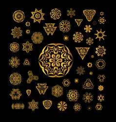 Ornamental golden round lace background vector