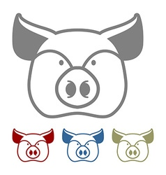 Pig icon flat style Head farm animal stencil Cute vector image vector image