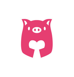 pig love negative space logo icon vector image