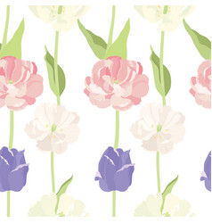 pink and lilac tulips seamless pattern vector image