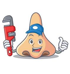 Plumber nose mascot cartoon style vector