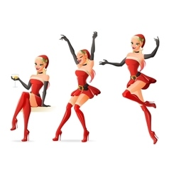 Pretty girls in Santa costumes in different poses vector image