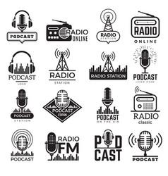 radio station logo music studio podcast speaker vector image