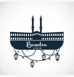 ramadan kareem sign of the mosque with hanging vector image