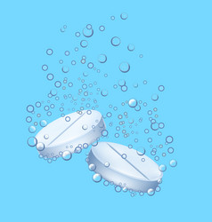 Realistic detailed 3d pill with bubbles on a blue vector